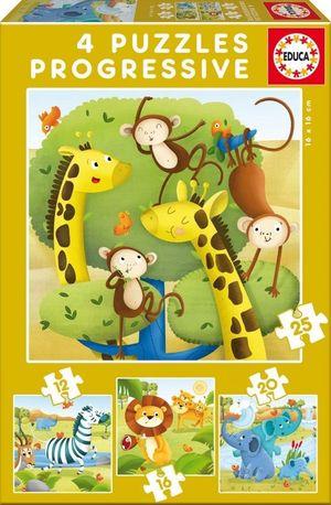 PUZZLE EVOLUTIVO 12, 16, 20 Y  PIEAS ANIMALES SALVAEJS