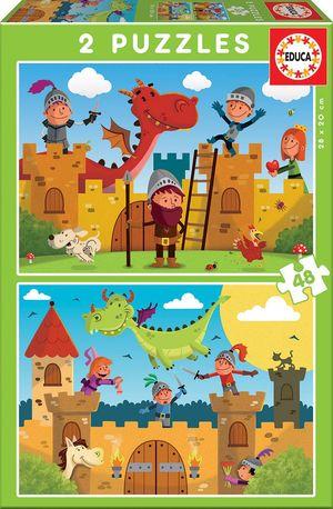 PUZZLES DRAGONES Y CABALLEROS 2X48 PIEZAS