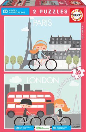 PUZZLES ALDEAS INFANTILES PARIS Y LONDRES 2X48 PIEZAS