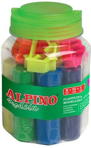 KIT PLASTILINA ALPINO BOTE 8 COLORES 80 GRS. 10 MOLDES + RODILLO