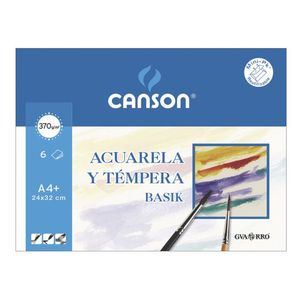 PAPEL ACUARELA BASIK CANSON DIN-A4 370GR PACK 6 HOJAS 24 X 32 CM