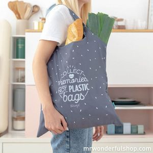 BOLSA DE LA COMPRA PLEGABLE GRIS - COLLECT MEMORIES NOT PLASTIC BAGS