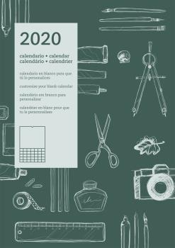 CALENDARIO PARED 2020 DIY PERSONALIZABLE INTERNACIONAL VERDE