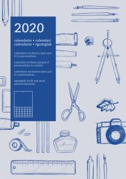 CALENDARIO PARED 2020 DIY PERSONALIZABLE AUTONOMICO AZUL
