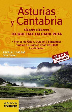 MAPA DE CARRETERAS DE ASTURIAS Y CANTABRIA ESCALA 1:340.000